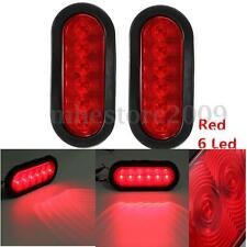 2x Oval Oblong Red Led Stop Turn Tail Light Sealed Surface Mount Trailer Truck