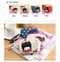 1Pcs Cute Girl's Japanese Anime Double Zipper Coin Linen Purse Bag Gift