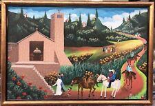 Tableau Huile Art Naif Haiti Joseph Wilfrid Daleus Paysage Eglise Paysan Haitien