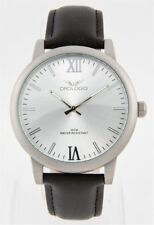 Mens Orologio Emporio Collection Stainless Black Leather Band Watch