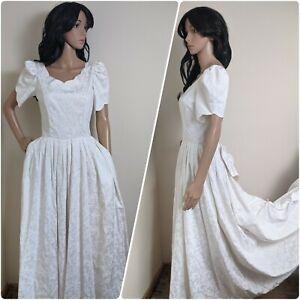 Vintage Laura Ashley Ivory Damask Bustle Wedding Dress Bow Train 8 36