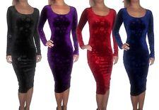 Womens New Velvet Christmas Floral Bodycon Midi Long Black Dress Size 6 8 10 S
