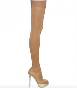 CHARLOTTE OLYMPIA SKYHIGH NUDE GLITTER JERSEY STRETCH OVER THE KNEE BOOTS 39.5/9