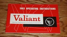 1963 Plymouth Valiant Owners Operators Manual 63