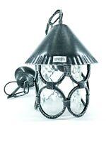Lanterna in ferro battuto da esterno a cono con catena e vetro trasparente caten