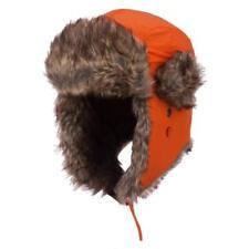 Orange Aviator Bomber Faux Fur Winter Ski Trooper Trapper Ear Flap Hat Cap L/XL