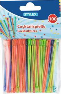 Cocktailspieße Partypicker Käsepicker 100 Stück 8 cm farbig sortiert von Stylex