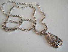 Mens Silver Finish Egyptian Pharaoh Hip-Hop Pendant with Complementary Chain