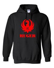 Ruger Red Logo Hoodie Sweatshirt Pro Gun Brand 2nd Amendment Rifle Shotgun New