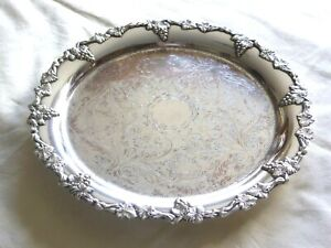 VICTORIAN SILVER PLATED SALVER WITH REPOUSSE FLOWERS & GRAPEVINES    1630088/093