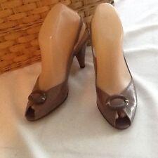 "Bruno Magli Tan Leather Slingbacks 3"" Heels Open Toe 7.5AAA Footbed 9.5"" X 2 3/4"