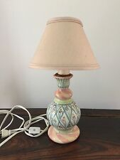 1980's Mckenzie Childs small candle stick lamp with pink shade MINT condition
