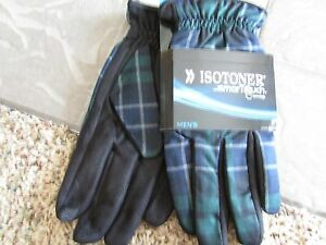 NEW ISOTONER BLACK PLAID  SMARTOUCH GLOVES MENS XL STYLE; A726M1 FREE SHIP