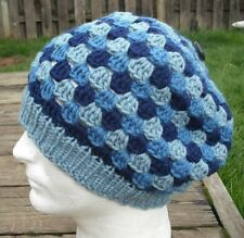 Funky Blue Shades Large  Knitted/Crocheted Beanie - Handmade by Michaela