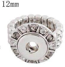 Silver Triple Rhinestone Ring 12mm Mini Petite Snap Charm for Ginger Snaps