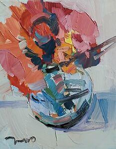 JOSE TRUJILLO Oil Painting IMPRESSIONISM CONTEMPORARY MODERN STILL LIFE FLOWERS