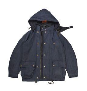 Nigel Cabourn Oilcloth Hooded Jacket - Medium - Black Tincloth
