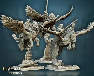 Pegasus Knights x3, Highlands Miniatures, Bretonnian Proxies, Aos, 9th Age