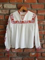 VINTAGE 1940s ROMANIAN FOLK BLOUSE~Cotton Gauze Embroidered Hungarian/Ethnic Top