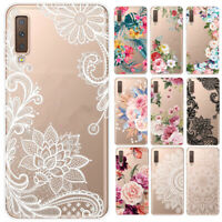 For Samsung Galaxy A6 A7 A9 2018 Clear Painted Slim Soft Silicone TPU Case Cover