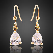 Sale! Lady Gift Yellow Gold Plated Gp Fine Clear Topaz Dangle Earrings Earing