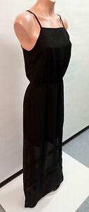 💜 H&M DIVIDED Strappy Side Slit Maxi Dress Black Size 36 Buy7=FreePost L851
