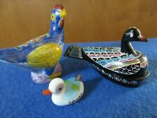 Decorative Ducks and Chicken Glass and Wood