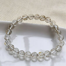 Natural Silver Rutilated Quartz Crystal Clear Round Beads Bracelet 7mm AAAA