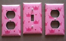 PRINCESS CROWNS LIGHT SWITCH COVER PLATE OUTLETS SET OF 3 PINK GIRLS ROOM CUTE