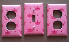 PINK LIGHT SWITCH COVER PLATES PRINCESS CROWN NURSERY GIRLS ROOM DECOR SET OF 3
