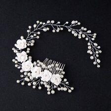 Pelo blanco marfil Plata Diamante Nupcial Peine de Vid Casco Diadema Perla