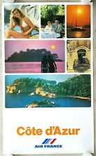 """AIR FRANCE """"COTE D'AZUR"""" Vintage 1980 Airline Travel RARE! Poster FRENCH RIVIERA"""