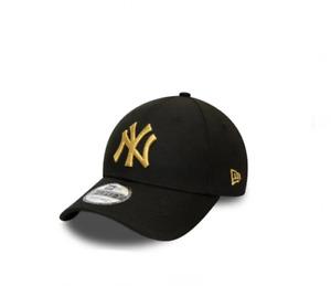 NEW ERA 9Forty NY New York Yankees cappellino blk/gold visiera curva regolabile