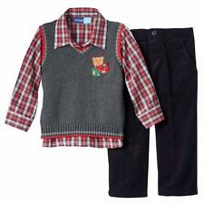 GREAT GUY® 2T Toddler Boys' 3 Pc. Holiday/Christmas Bear Sweater Vest Set *NWT*