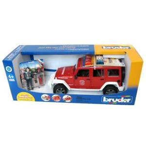 1/16 Jeep Wrangler Rubicon Fire Vehicle With Fireman By Bruder 2528