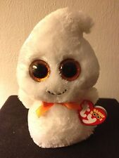 """Ty Beanie Boo Boos Ghosty the Halloween Ghost 6"""" Red Tag with Glitter Eyes MWMT"""