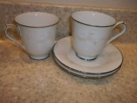 4 Pieces Noritake Temptation 2752 Cups & Saucers White Pink Flowers