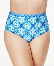 NEW La Blanca Crystal True Blue Printed High-Rise Tummy-Control Bikini Plus 18W