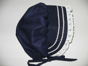 Sunhat Bonnet SOLID NAVY BLUE cotton wlace trim hat sz nb,3,6,9,12,18 mo NEW
