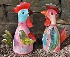 ❀ Zaunhocker Huhn + Hahn Paar Hühner 23,5 cm Bunt Zaunfigur Pfostenhocker GW