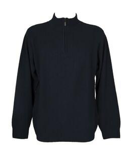 SG Maglia pullover uomo manica lunga collo alto mezza zip lana e cashmere RAGNO