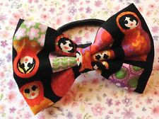 "NEW 3"" BLACK RUSSIAN DOLL PRINT FABRIC BOW HAIR ELASTIC BAND PONYTAIL BOBBLE"