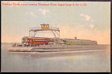 1910c  *MASTODON BARGE CROSSING MISS. RIVER* NEW ORLEANS, LA. {UNUSED} POSTCARD!