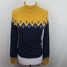 Timeout Brand Los Angeles Womens Long Sleeve Turtle Neck Blue Yellow Size M