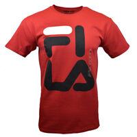 FILA Men's T-shirt - Athletic Sports Apparel - FI-LA -Black Bold Logo -RED