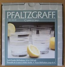 Pfaltzgraff Cappuccino 4 12 oz. Double Old Fashioned Glasses NIB Think Whiskey