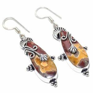 """Red Seame Agate Ethnic Gemstone Handmade Jewelry Earring 2.44"""" AL-26230"""