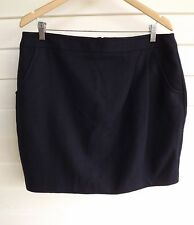BNWT Portmans Women's Blue Wool-Blend Skirt with Pockets - Size 16