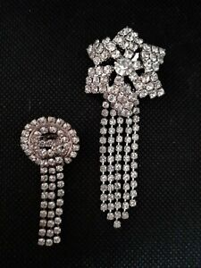 2 deco style crystal claw set brooches made in England