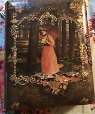 Antique Victorian Celluloid Photo Album Woman w Parasol By Tree Cover Has Tear